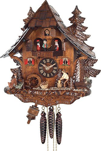 Quartz Cuckoo Clock Black Forest house with moving wood chopper and mill wheel, with music