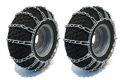 The ROP Shop New Pair 2 Link TIRE Chains 20x8.00x10 for Garden Tractors/Riders/Snowblower