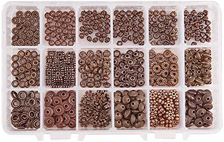 PH PandaHall 500pcs 10 Style Tibetan Alloy Antique Bronze Spacer Beads Gear Bicone Flower Metal Spacers for Bracelet Necklace Jewelry Making
