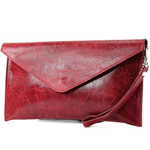 modamoda de - ital. Ledertasche Clutch Unterarmtasche Abendtasche Damentasche Handgelenktasche Glattleder T106G, Präzise Farbe:Dunkelrot