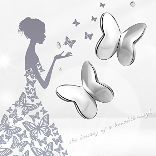 Small Butterfly Earrings Sterling Silver High Polished Cute Butterfly Jewelry for Women Girls by LUHE (Image #3)