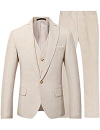 Mens 3 Piece Linen Suit Set Blazer Jacket Tux Vest Suit Pants