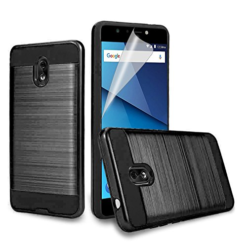 JH-Wireless BLU Life one X3 Case, [Shock Absorption] Drop Protection Hybrid Dual Layer Armor Protective Case Cover with [Premium Screen Protector] for BLU Life One X3 (Black)