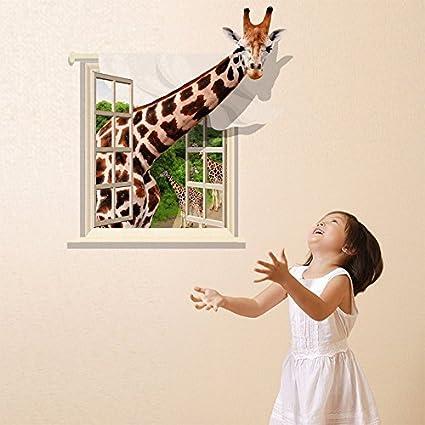 Fange DIY Removable 3D Creative High Definition Window Giraffe Art Mural Vinyl Waterproof Wall Stickers Living