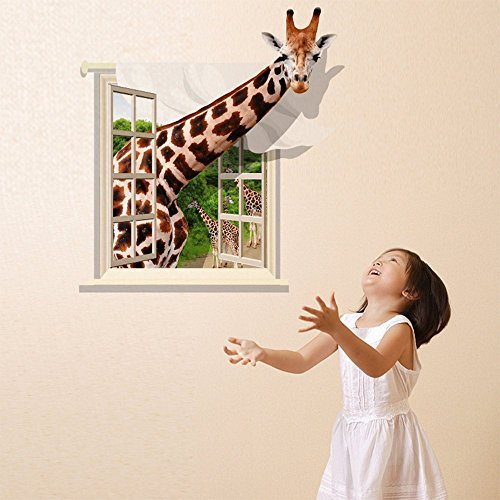Giraffe Window - Fange DIY Removable 3D Creative High Definition Window Giraffe Art Mural Vinyl Waterproof Wall Stickers Living Room Decor Bedroom Decal Sticker Wallpaper 35.4''x23.6''