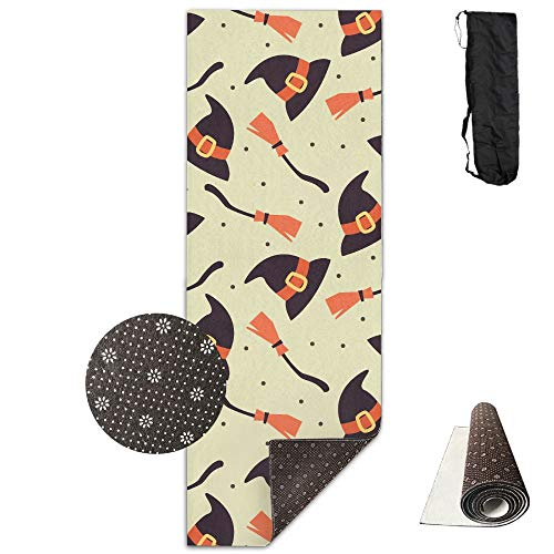 VIMMUCIR Non-Slip Fashion-Forward Halloween Witch Hat and Besom Printed Yoga Mat Aerobic Exercise Mat Pilates Mat Baby Crawling Mat with Carrying Bag Great for Man/Women/Baby ()