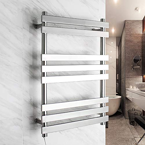 HUIJIN1 304 Stainless Steel Electric Towel Rack,67 Watts Wall-Mounted Hot Towel Rack with 8 Heated Bars,Bathrooms Polished,740520120mm,pluginwiring ()