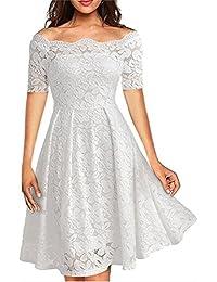 1ae5a6bfabf Elegant Women s Off Shoulder Lace Short Long Sleeve Wedding Party Dress  Plus Size