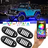 AMBOTHER RGB LED Rock Lights with APP RF Control 4 Pods Multicolor Neon Underglow Waterproof Music Lighting Kit for Jeep Off Road Truck Car ATV SUV Motorcycle, DC 12V