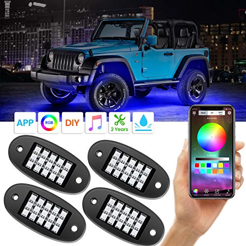 AMBOTHER RGB LED Rock Lights with APP RF Control 4 Pods Multicolor Neon Underglow Waterproof Music Lighting Kit for Jeep Off Road Truck Car ATV SUV Motorcycle, DC 12V (Rob Led Kit)
