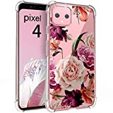 Osophter for Google Pixel 4 Case Floral, Flower Case Girls Shock-Absorption Flexible Cell Phone Soft Silicone Full-Body Protective Cover for Google Pixel 4(Purple Flower)