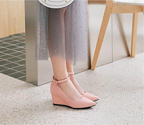 mogeek Femme Escarpins Ankle-Strap Classic Espadrilles Talons Hauts Élégant Compensé Chaussures Rose iDUD3hBY