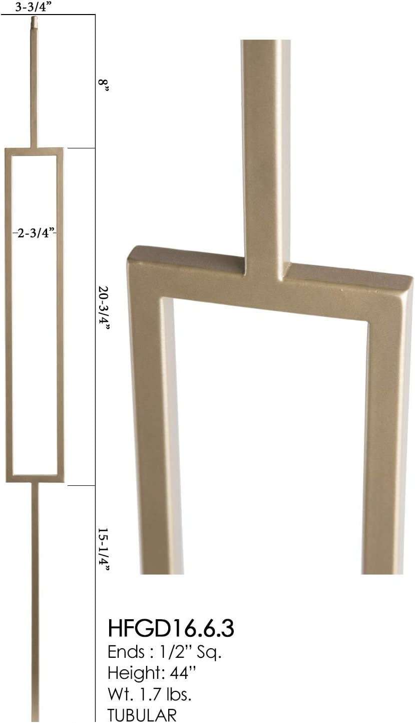 Dorado Gold 16.6.7 Single Marquis Hollow Iron Baluster for Staircase Remodel