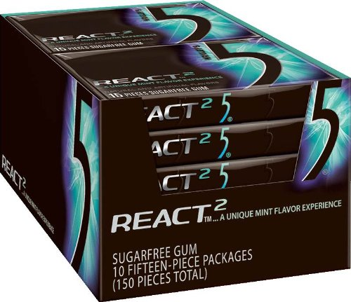 Wrigley's Gum 5 -  React Mint, 1.76-Ounce Packages (Pack of 10) - Five Gum
