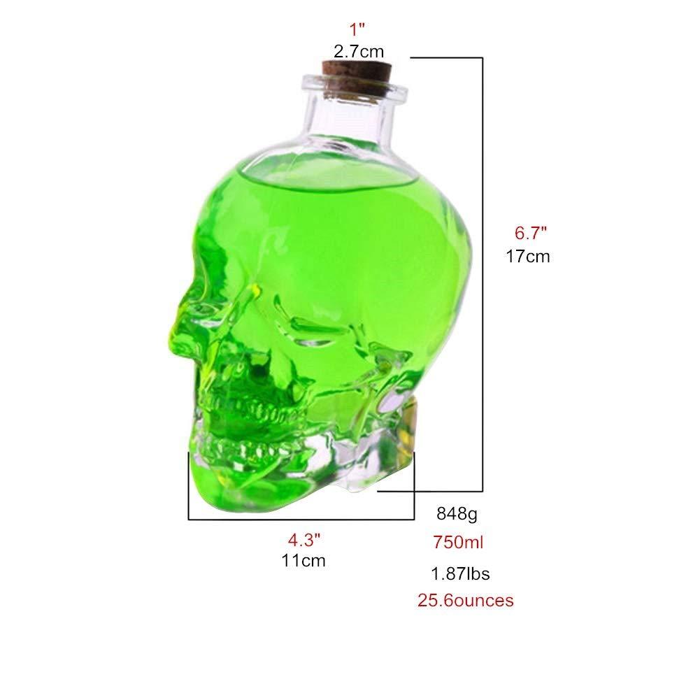 ✅Skull Bottle,Skull Decanter, Creative Vase Bottle, Wine Bottle Glass,Whiskey Bottle,Wine Carafe Decanter,750 ml Glass Bottles,Glass Kettle 25.6 Ounces-Alcohol Related Gifts