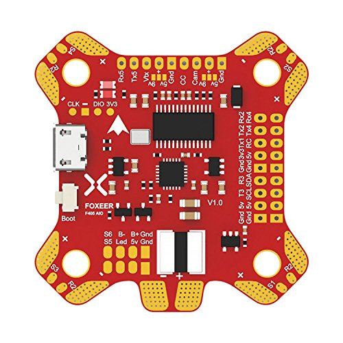 Board Controller Main (FOXEER FALCORC F405 AIO Flight Controller, Mini Power Distribution Board/LED (Comes with BEC 5V 9V) BetaFlight Flight Controller for Drone FPV Racing)