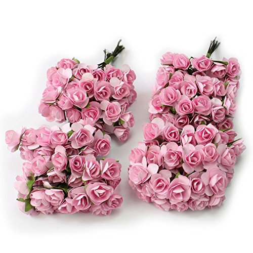 Sorive® 144pc Beautiful Artificial Paper Rose Flower Wedding Card Embellishment ()