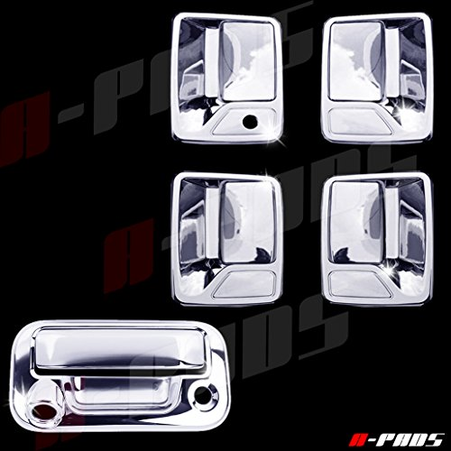A-PADS Chrome Covers Combo Set for Ford SUPER DUTY F250 F350 F450 1999-2016 - 4 Doors, WITHOUT Passenger Keyhole + Tailgate, WITH Camera Hole & WITH Keyhole