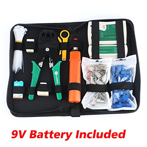 Crimping Tool Kit (Zoostliss Portable Ethernet Network Tool Cable Tester Kit RJ45 Crimper Plug Crimping tool Set Punch Down RJ11 Cat5 Cat6 Wire Line Detector)