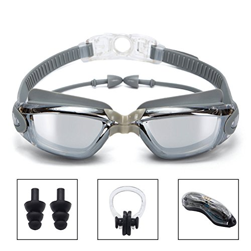 Swim Goggles, Clear Swimming Goggles with Built-In Ear Plugs Anti Fog UV Protection No Leaking Triathlon Mirrored Swim glasses with Free Protection Case for Adult Men Women Kids by onenice (Gary)