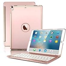 Nuevo iPad Pro 10,5funda con teclado Cubierta, 7colores de retroiluminación teclado Bluetooth ultra delgado Folio de aleación de aluminio cubierta trasera dura, Rose gold