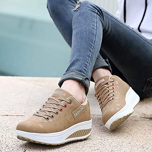 Yao Increased Khaki Breathable Platform 38 Women's Sports Ladies Shoes Running URgUXw