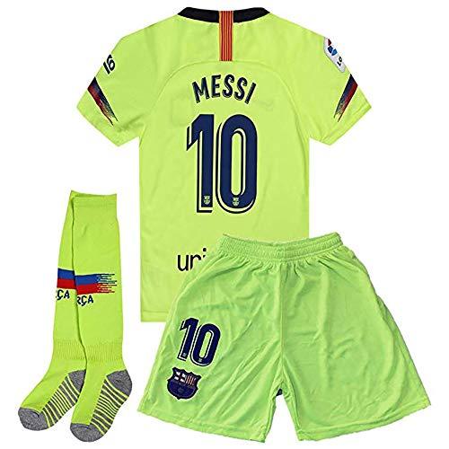 #10 Messi Barcelona Away 2018-2019 Season Kids or Youth Soccer Jerseys & Shorts & Socks Blue (6-7Years/Size 22) (Barcelona Jersey 2018 2018)