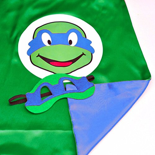 [Superhero or Princess CAPE & MASK SET Kids Childrens Halloween Costume (Turtle Blue (TMNT] (Ninja Turtles Child Costumes)