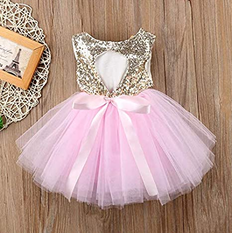 Baby Girl Sequin Tulle Tutu Sleeveless Backless Dress Tunic Princess Wedding Outfit Clothes