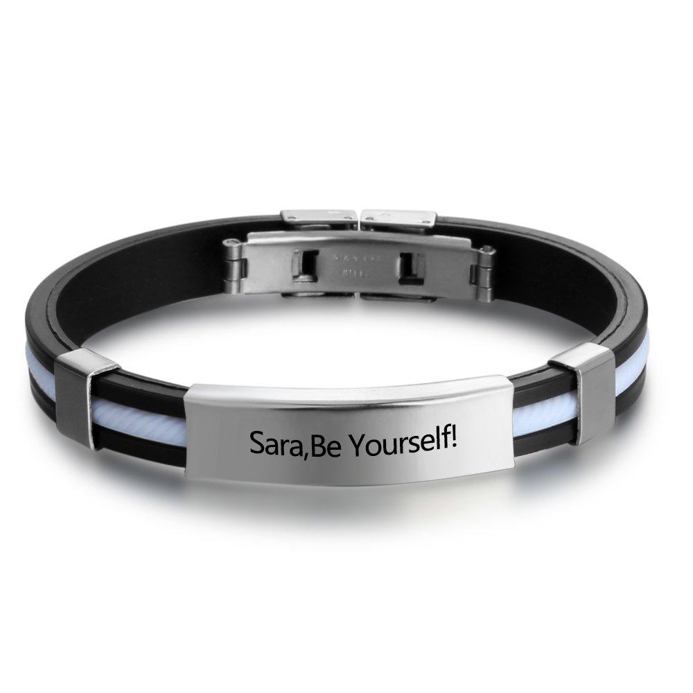 Personalized Engraved Stainless Steel Rubber Bracelet for Men Women Kids DIY Custom Name Date ID Bracelet Diamondido BA100618