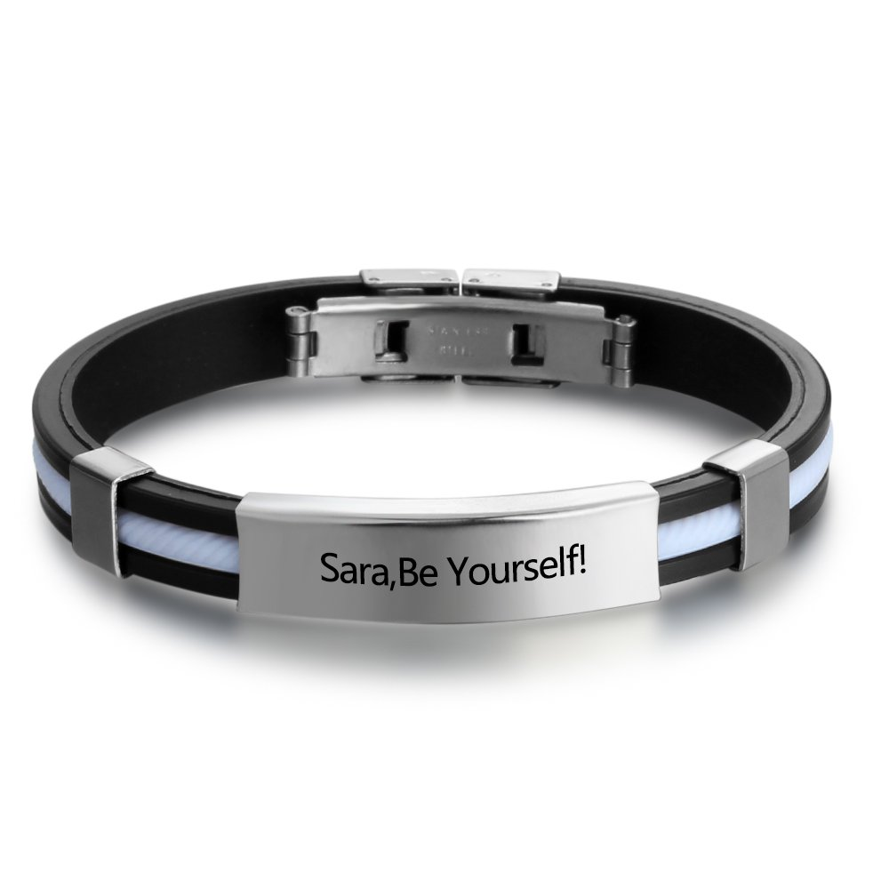 Personalized Engraved Stainless Steel Rubber Bracelet for Men Women Kids DIY Custom Name Date ID Bracelet Diamondido