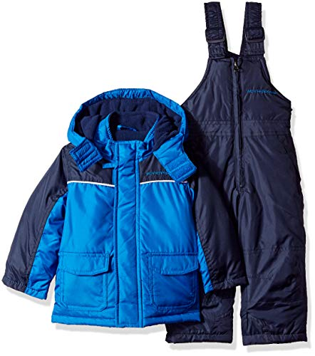 Weatherproof Baby Boys 2 Piece Snowsuit Set, Blue/Navy Pants, 12M