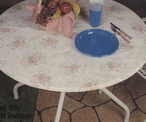 Amazon.com: Fitted Vinyl Tablecloths, 60 Inches Round, Flannel Soft  Backing, English Rose Design. Fit 54 Inch Table Or Smaller: Home U0026 Kitchen