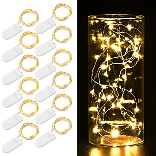 2019 New Fairy String Lights, 12 Pack Starry Lights Battery Operated, 3.3ft 20 LED Indoor Outdoor Halloween String Lights, Copper Wire Lights for Party, Wedding, Christmas Decoration (Warm White)