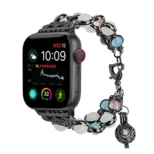 - TILON For Apple Watch Band 38mm 40mm Series 4/3/2/1, Adjustable Wristband Handmade Night Luminous Pearl iWatch Bracelet with Essential Oil/Perfume Storage Pendant for Women/Girls(Black)