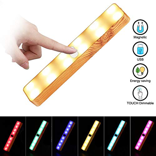(FOONEE Colorful Wood Grain LED Light Bar, Magnetic Suction Cabinet Little Lamp with Adjustable Color, USB Rechargeable LED Light for Outdoor Camping Tent Light Wardrobe Wall Light)