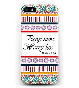 Phone Case for iphone 6 plus Pray More Worry Less Matthew 6:34 - Floral Background