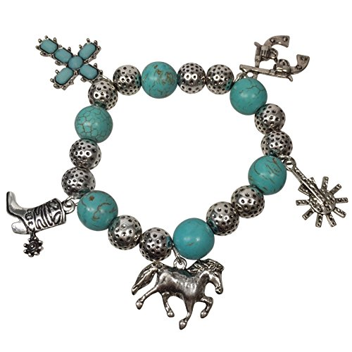 Western Jewelry Necklace Bracelet - Simulated Turquoise Beaded Western Style Dangle Charms Silver Tone Stretch Bracelet