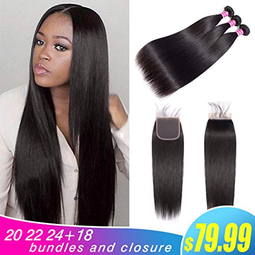 Gabrielle Straight Brazilian Hair Bundles With Closure (20 22 24+18 Inch)100% Unprocessed Brazilian Virgin Human Hair Straight 4x4 Free Part Lace Closure Hair Weave Natural Color from Gabrielle