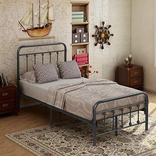 Elegant Home Products Victorian Vintage Style Platform Metal Bed Frame Foundation Headboard Footboard Heavy Duty Steel Slabs Queen Full Twin Gray/Sliver Finish (Twin)