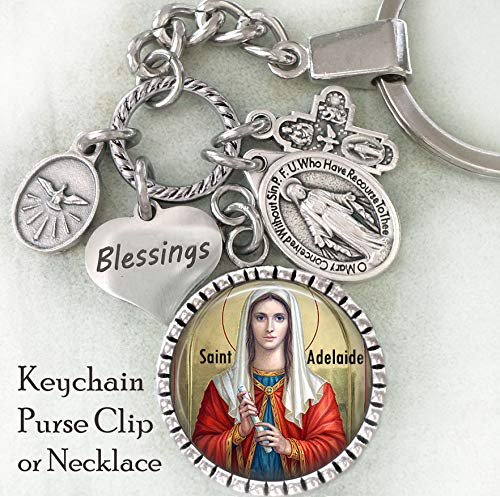 St. Adelaide Keychain, Purse Clip, Backpack Clip or Necklace, Patron Saint, Catholic Confirmation Gift