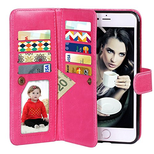 (Vofolen 2 in 1 Case for iPhone 6 Case iPhone 6S Case Wallet Folio Flip PU Leather Case Protective Hard Shell Magnetic Detachable Slim Back Cover with Card Holder Slot Wrist Strap for iPhone 6 6S Pink)