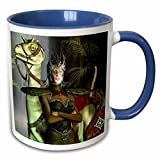 3dRose Art of Jolie E Bonnette Humanoids - Jungle Guardian Warrior Woman Dinosaur Fantasy 3D - 11oz Two-Tone Blue Mug (mug_23168_6)