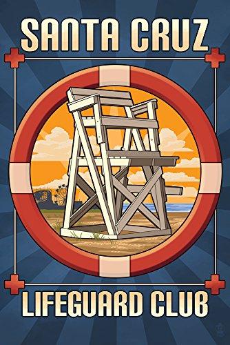 - Santa Cruz, California - Lifeguard Club (16x24 SIGNED Print Master Giclee Print w/Certificate of Authenticity - Wall Decor Travel Poster)
