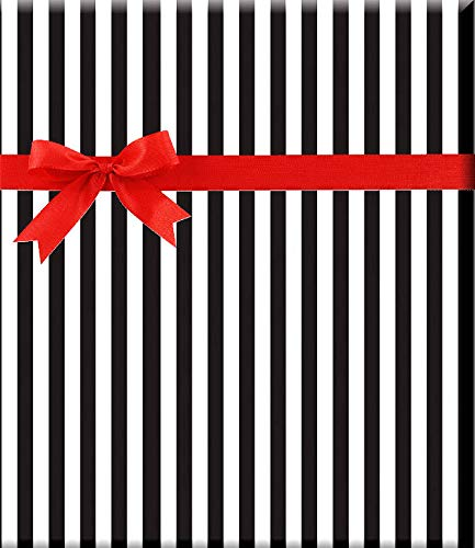 Black and White Stripe Gift Wrap Wrapping Paper-15ft Roll w. 20Gift Tags ()
