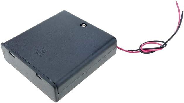 BeMatik - Portapilas en Caja para 4 Pilas LR6 AA 1.5V con Interruptor: Amazon.es: Electrónica
