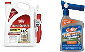 Ortho 0220910 Home Defense Insect Killer for Indoor & Perimeter2 with Comfort Wand Bonus Size, 1.1 GAL & Cutter Backyard Bug Control Spray Concentrate, 32-Ounce
