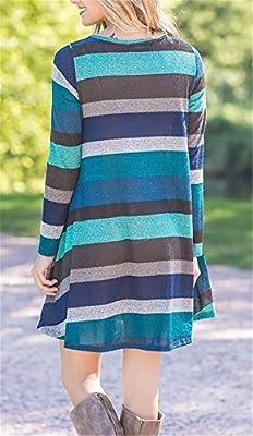 ETCYY Women's Long Sleeve Floral Printed Casual Swing T-Shirt Dress Pockets