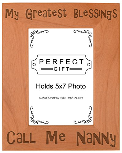 ThisWear Gift Grandma Blessings Call Me Nanny Natural Wood Engraved 5x7 Portrait Picture Frame Wood