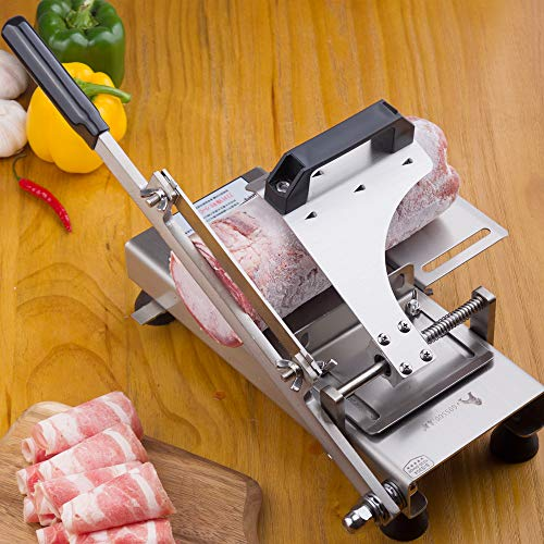 Manual frozen meat ctter slicer machine, 304 food stainless steel and German blade, cut vegetable kitchen products electric cheese bacon ham by GOSSOO (Image #7)